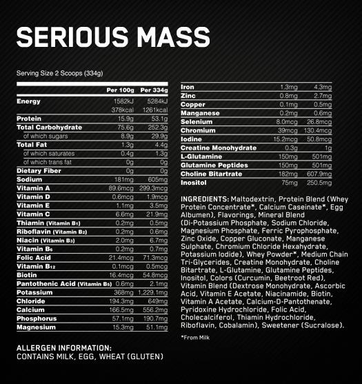 Optimum Nutrition Serious Mass состав