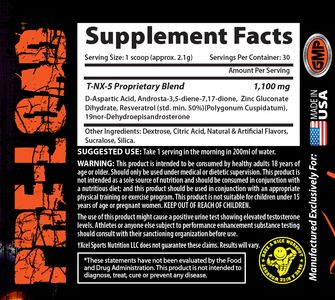 Xcel Sport Nutrition - T-NX-5 - Supplement Facts