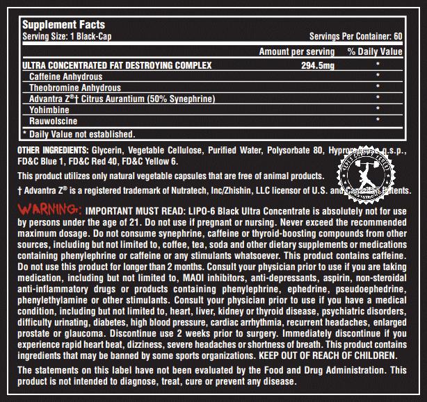 Nutrex Lipo 6 Black Ultra Concentrate состав