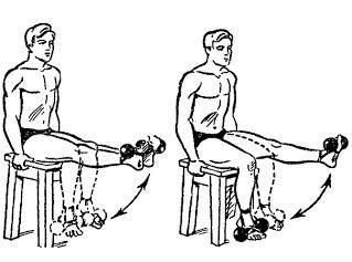 Разгибания ног с весом на ступнях